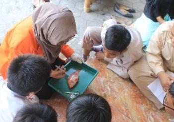 Dosen dan Mahasiswa Biologi UAD Ajak Siswa SD Bedah Ikan